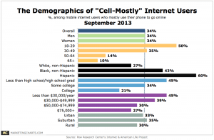 """The Demographics of """"Cell-Mostly"""" Internet Users is young and poor"""