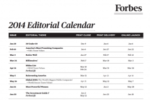 Forbes Editorial Calendar